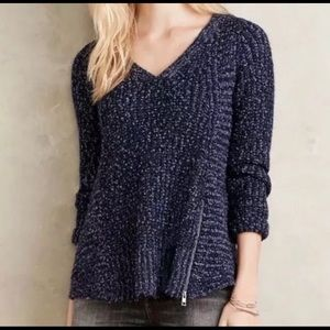 Anthropologie Moth Chunky Knit Blue Sweater XS/S